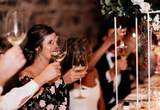 Waterton Hall Wines - wedding table and guest toasting... Photographer Fiona Vail