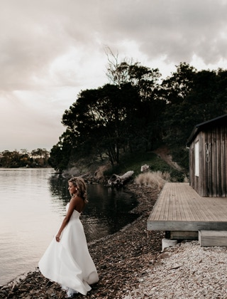 Waterton Hall Wines - Waterton Hall Boatshed and bride on the edge of the Tamar River... Photographer Fiona Vail