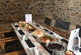 Waterton Hall Wines - a long table with Tasmania produce