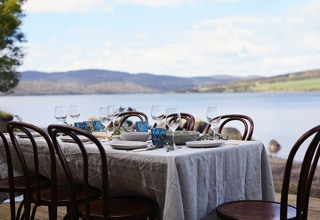 Waterton Hall Wines - long table alongside our boatshed